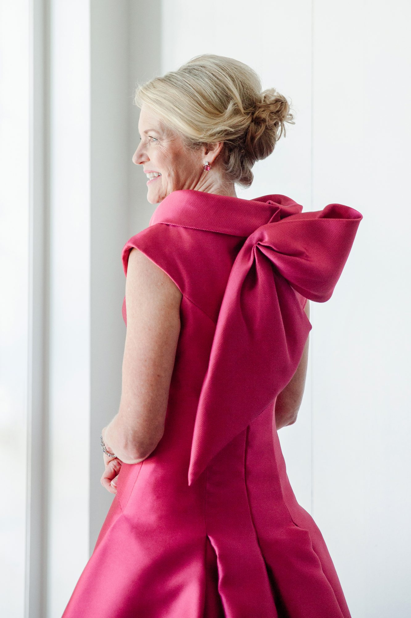 Mother of the Bride Dress with Pink Bow at Back