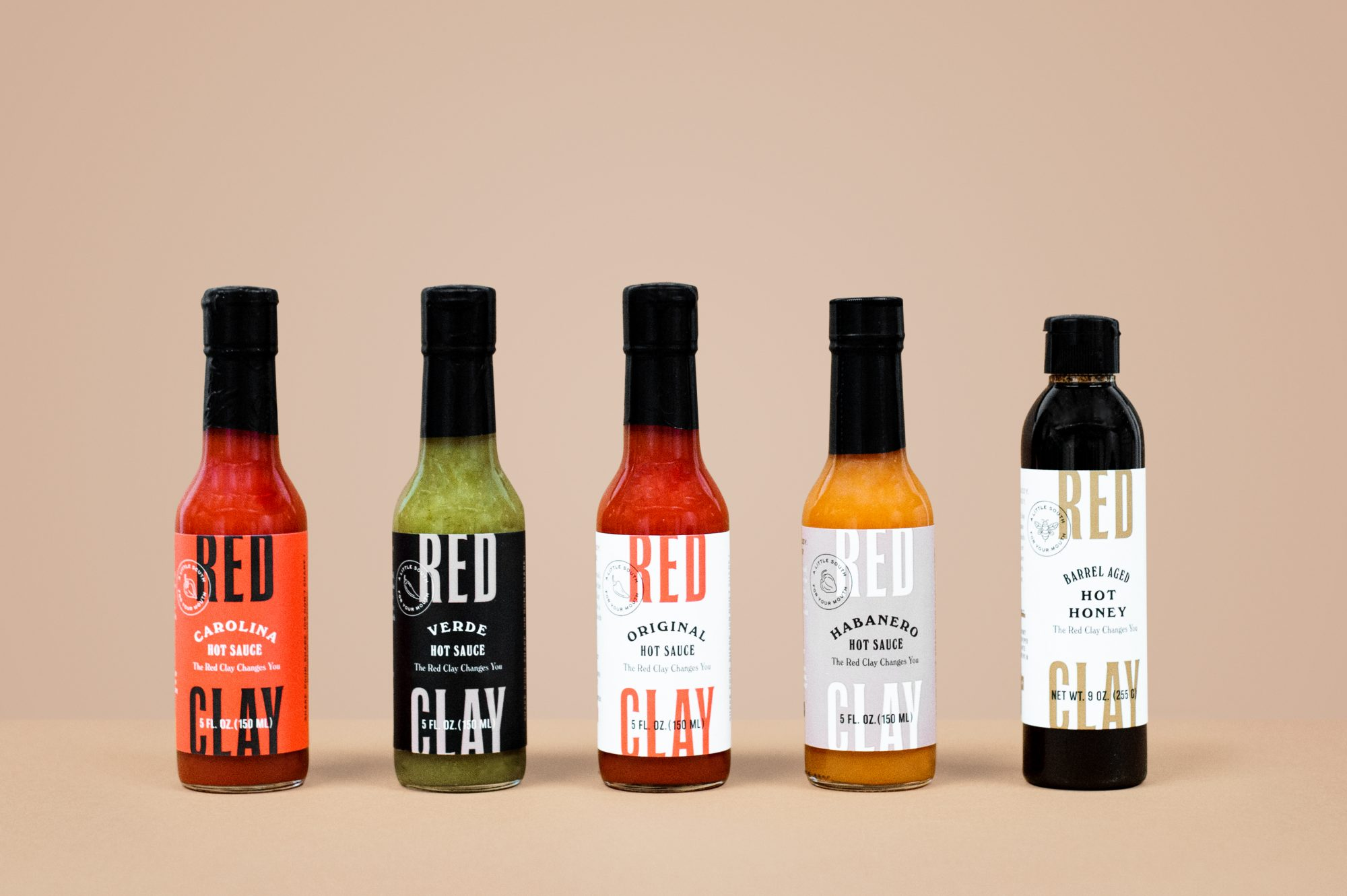 Mini Bottles of Red Clay Hot Sauce