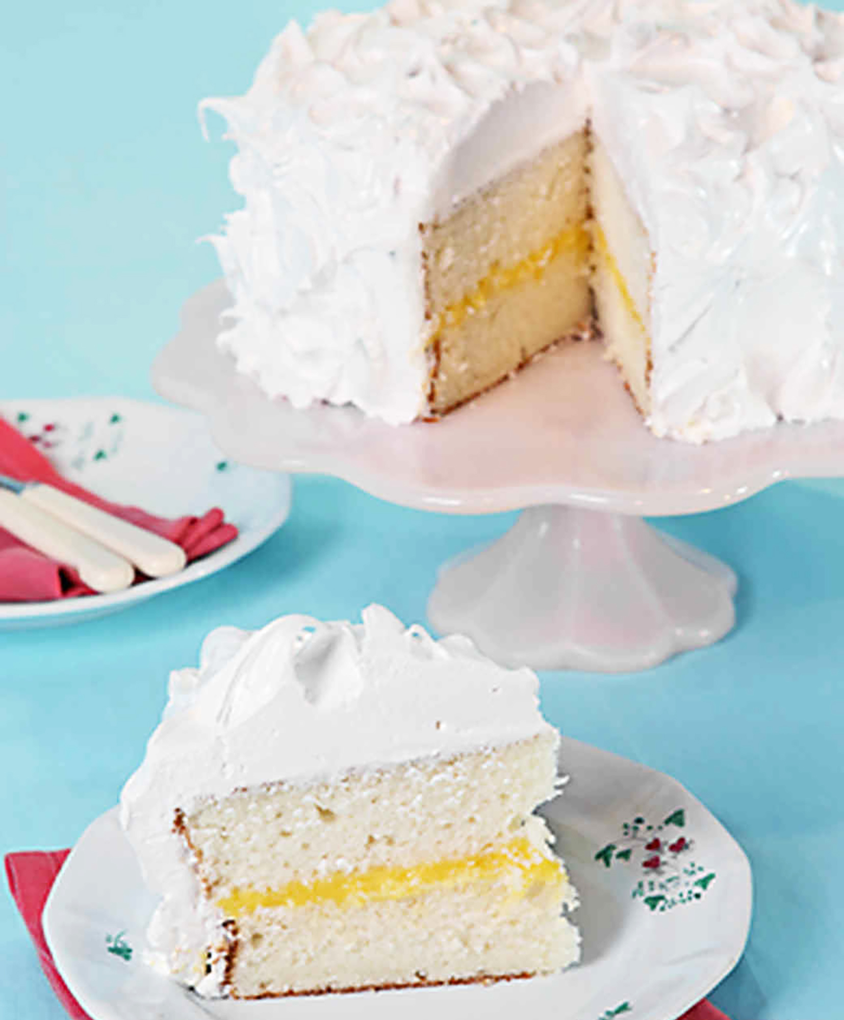 White Layer Cake with Lemon Curd Filling