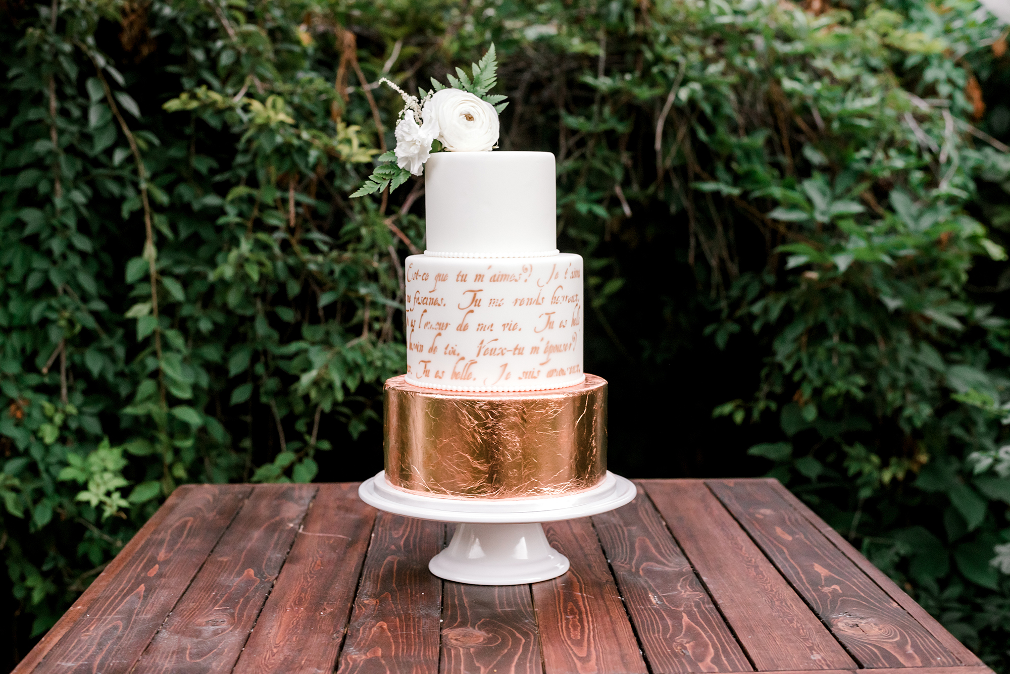 wedding cake with copper details