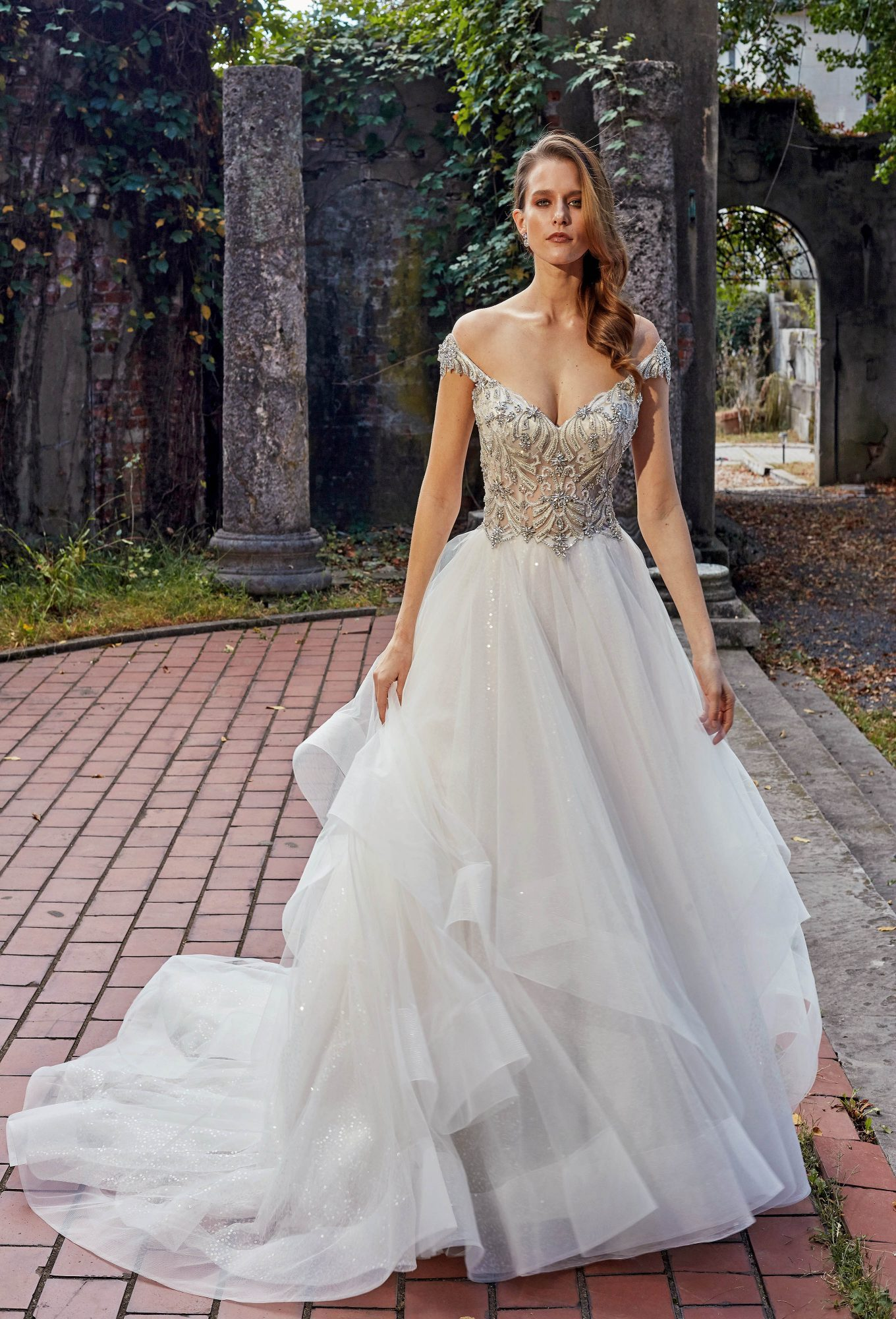eve of milady off-the-shoulder v-neck ball gown wedding dress fall 2018