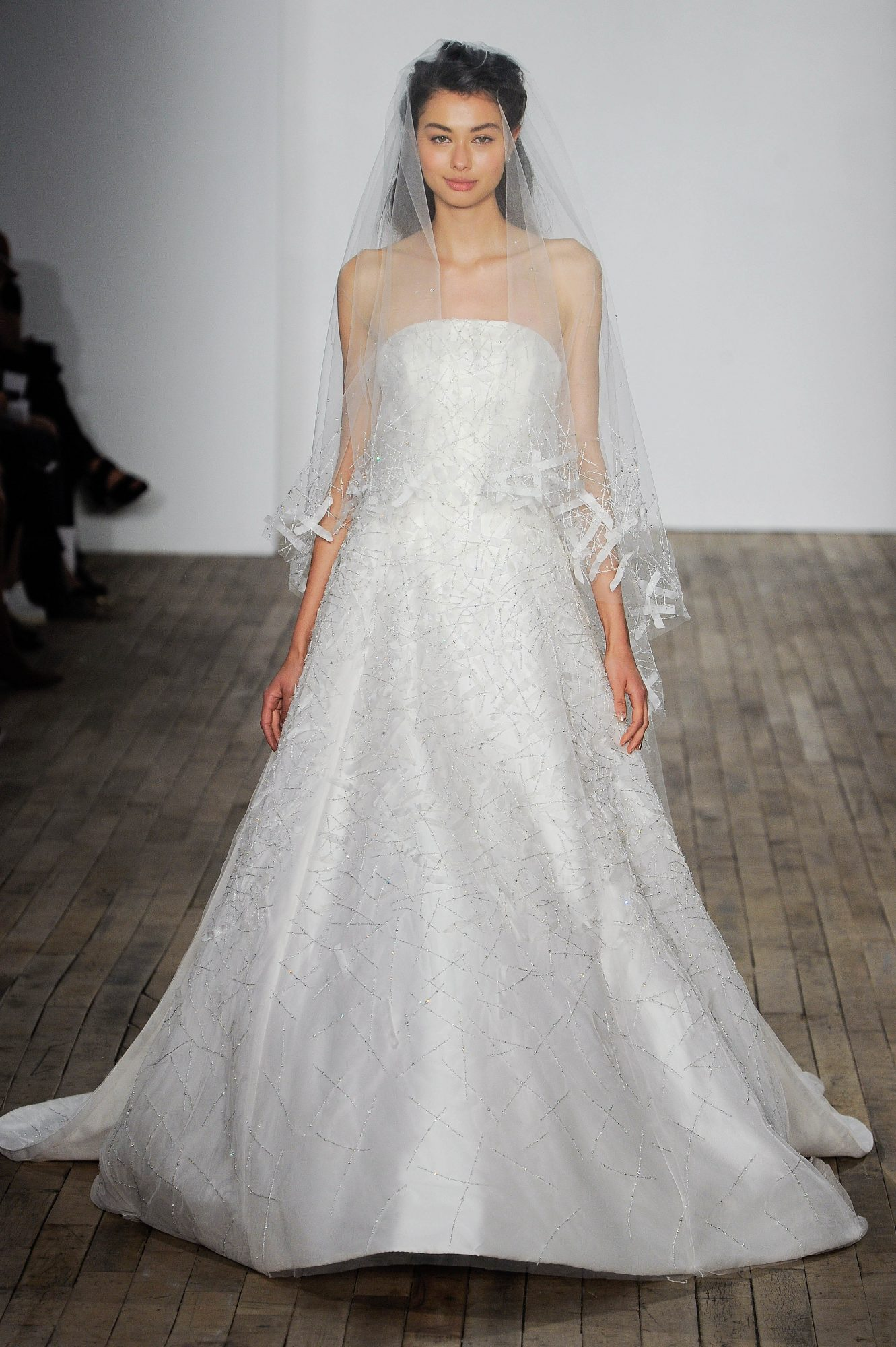Allison Webb Off-the-Shoulder with Veil Wedding Dress Fall 2018