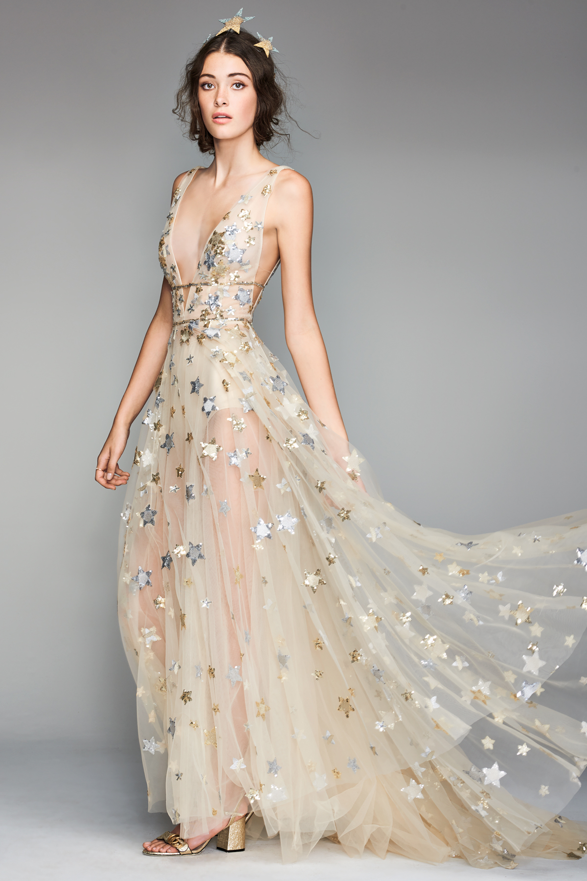 willowby by watters 2018 champagne metallic star wedding dress