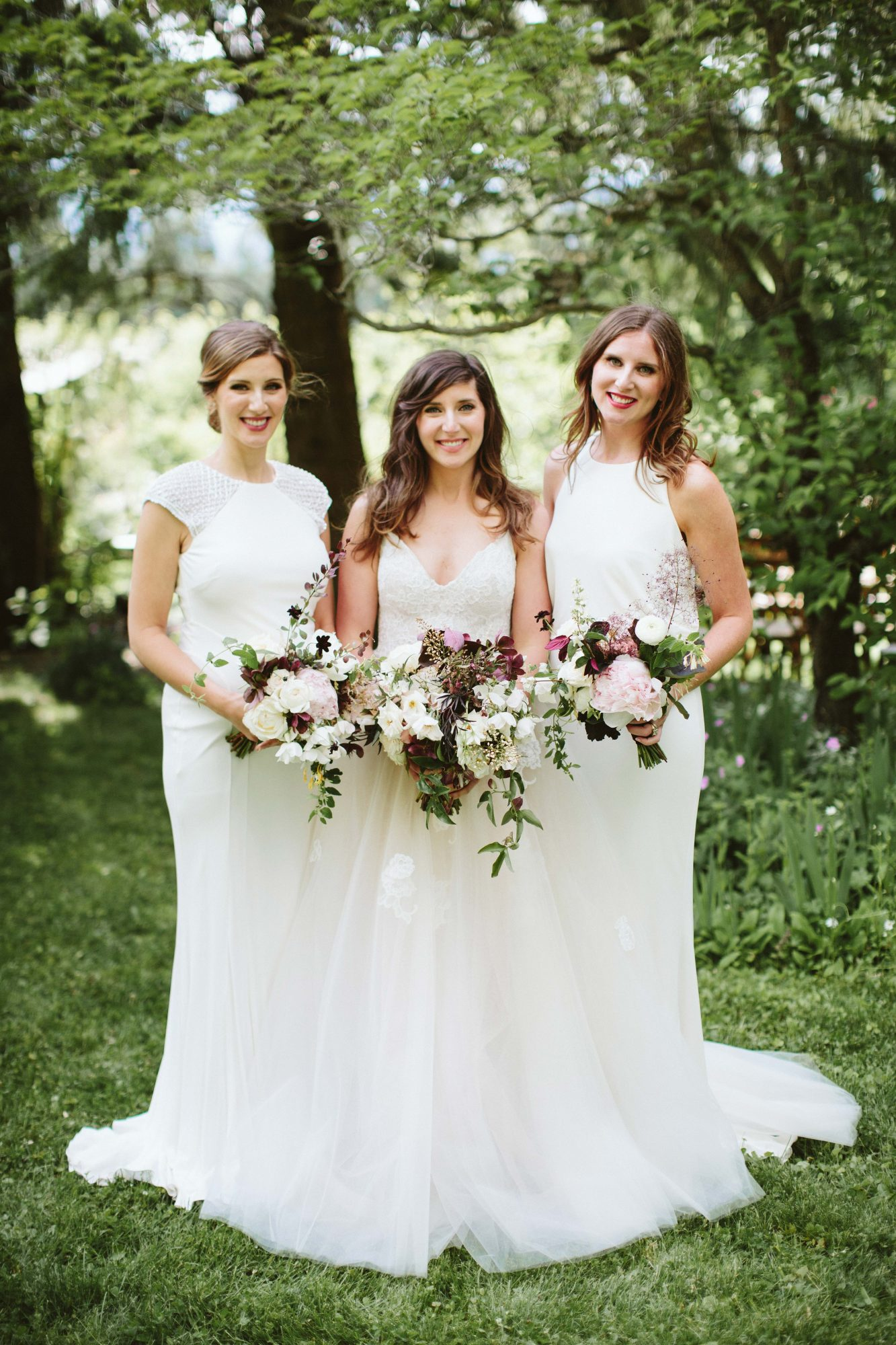 Complementary White Bridesmaids' Dresses
