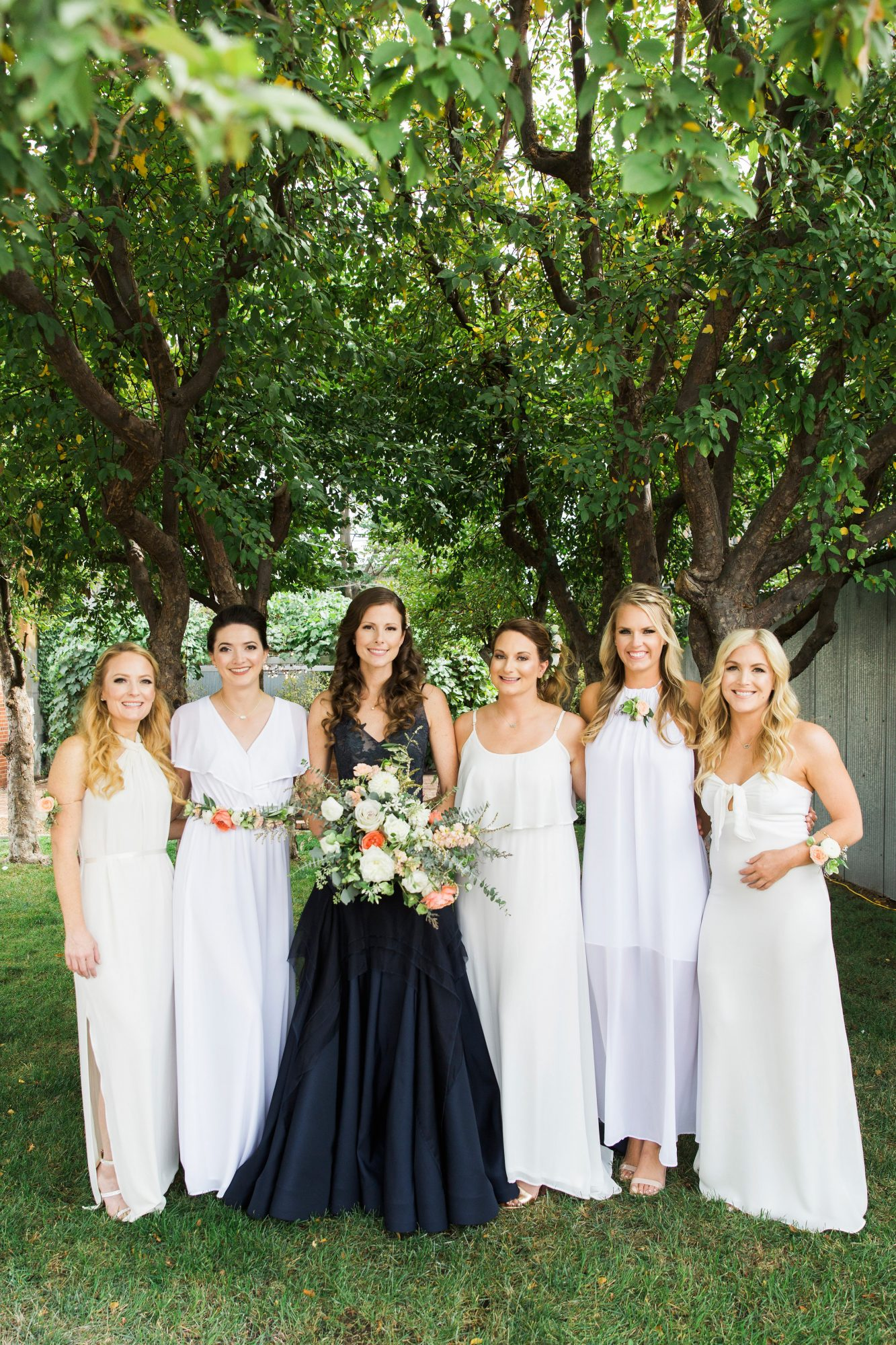 Different White Bridesmaids' Dresses