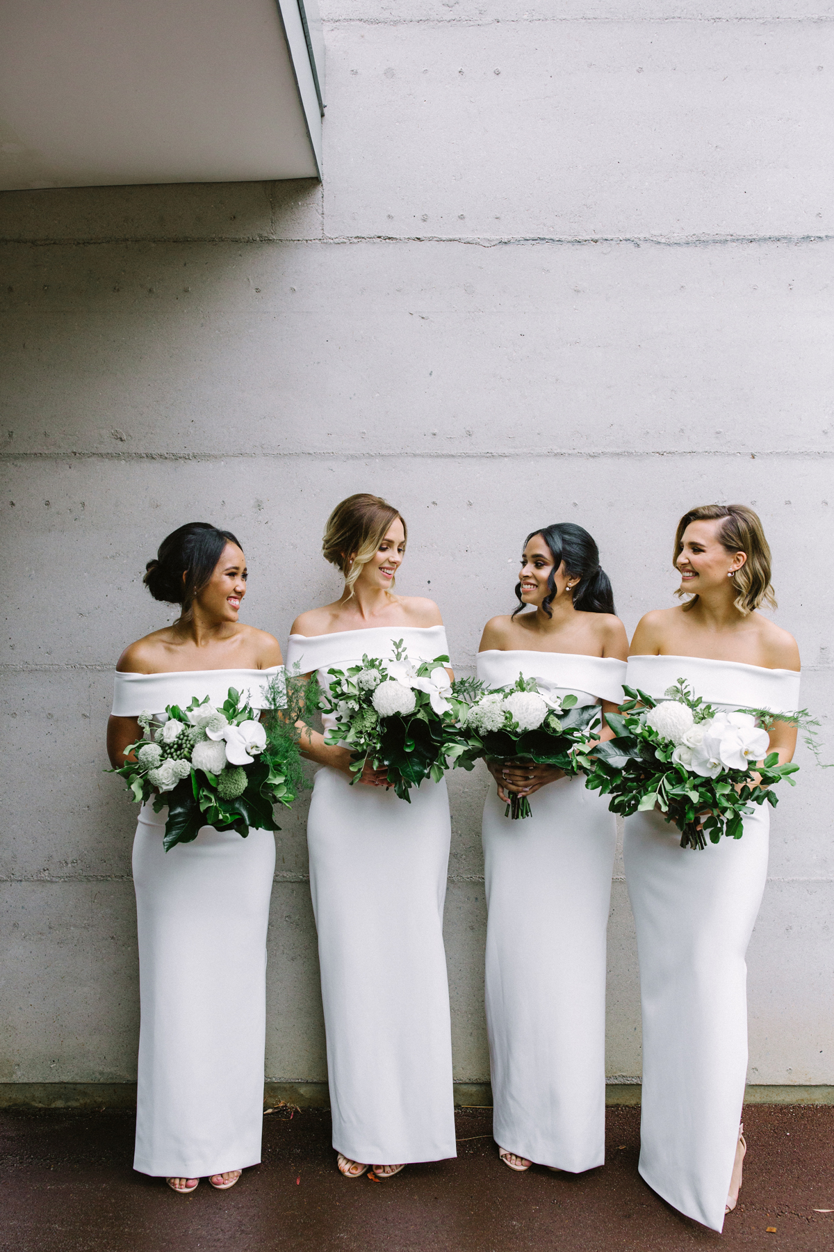 Off-the-Shoulder White Bridesmaids' Dresses