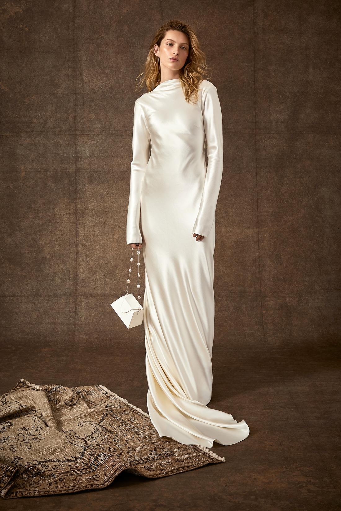 high-neck long sleeve sheath wedding dress Danielle Frankel Spring 2020