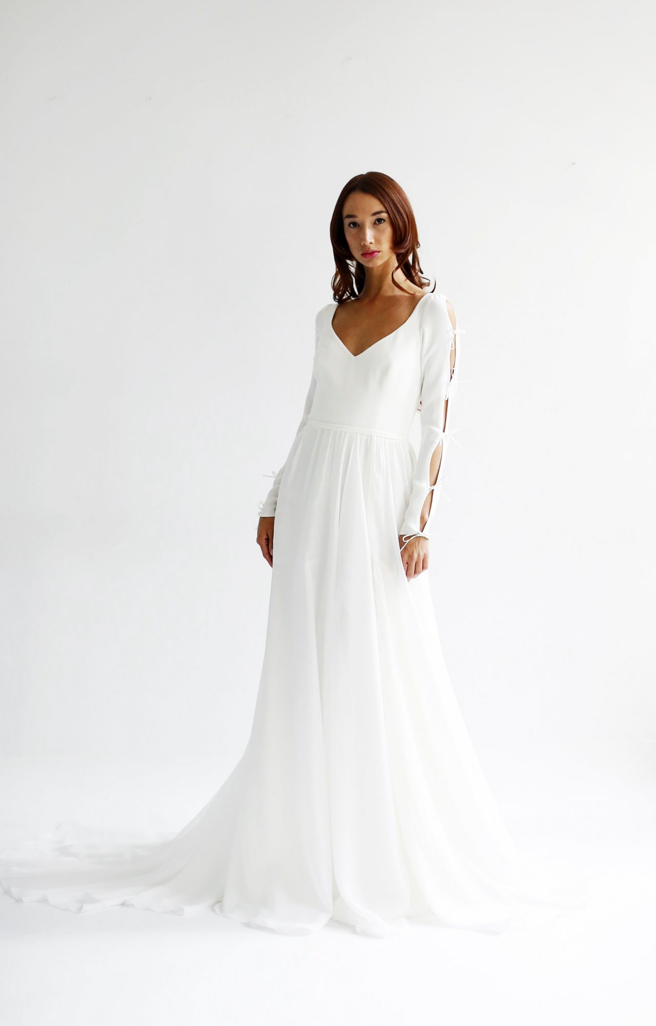 leanne marshall wedding dress spring 2019 long sleeves cut outs