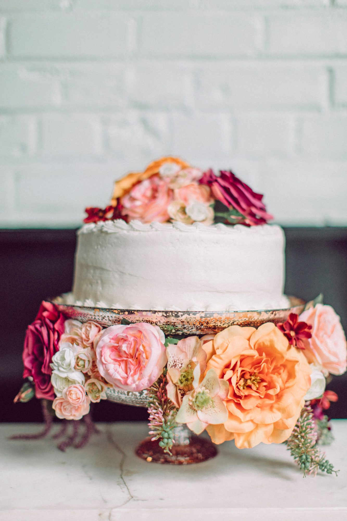 bridal shower cake with blooms