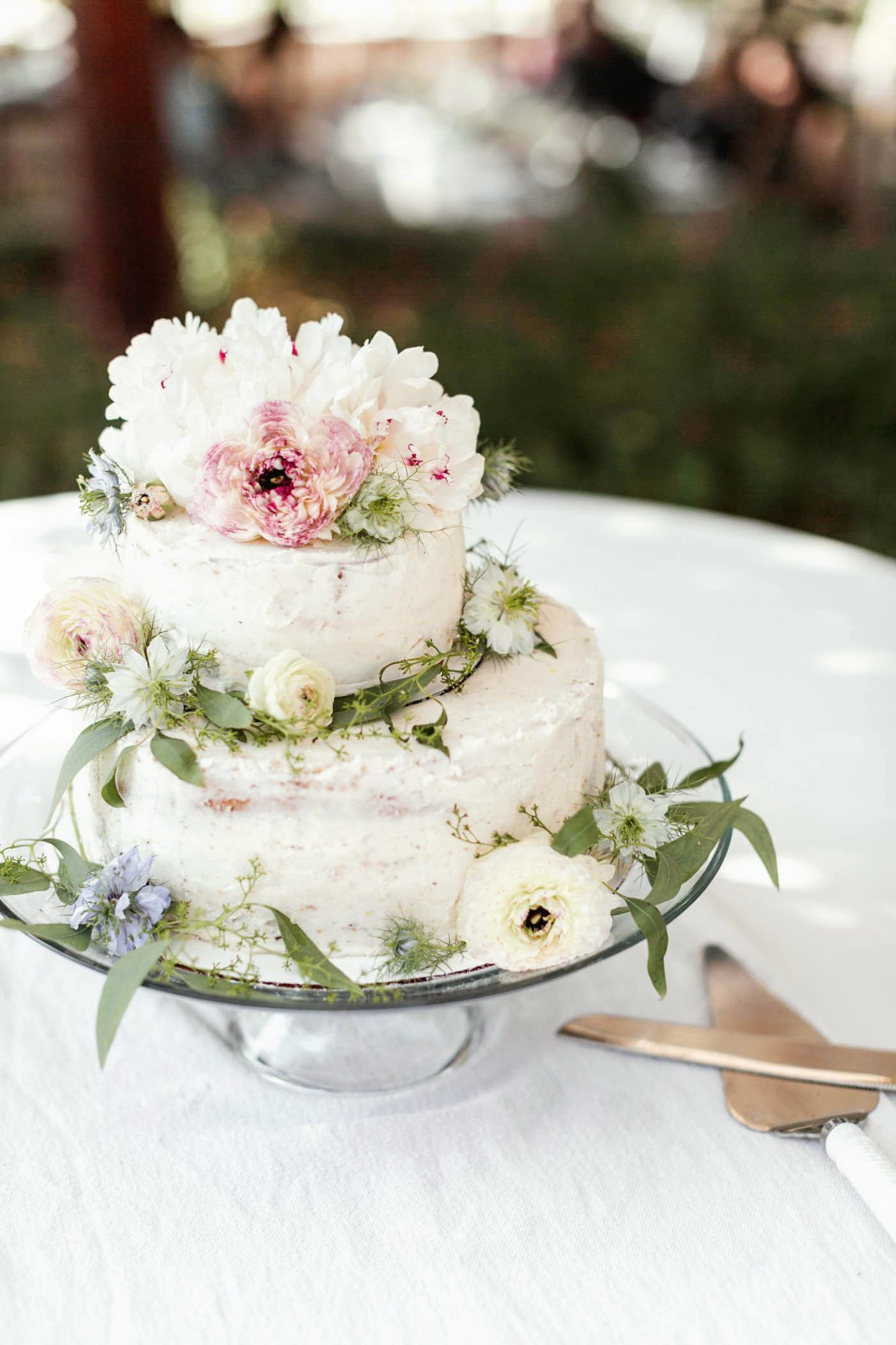 bridal shower cake with flowers