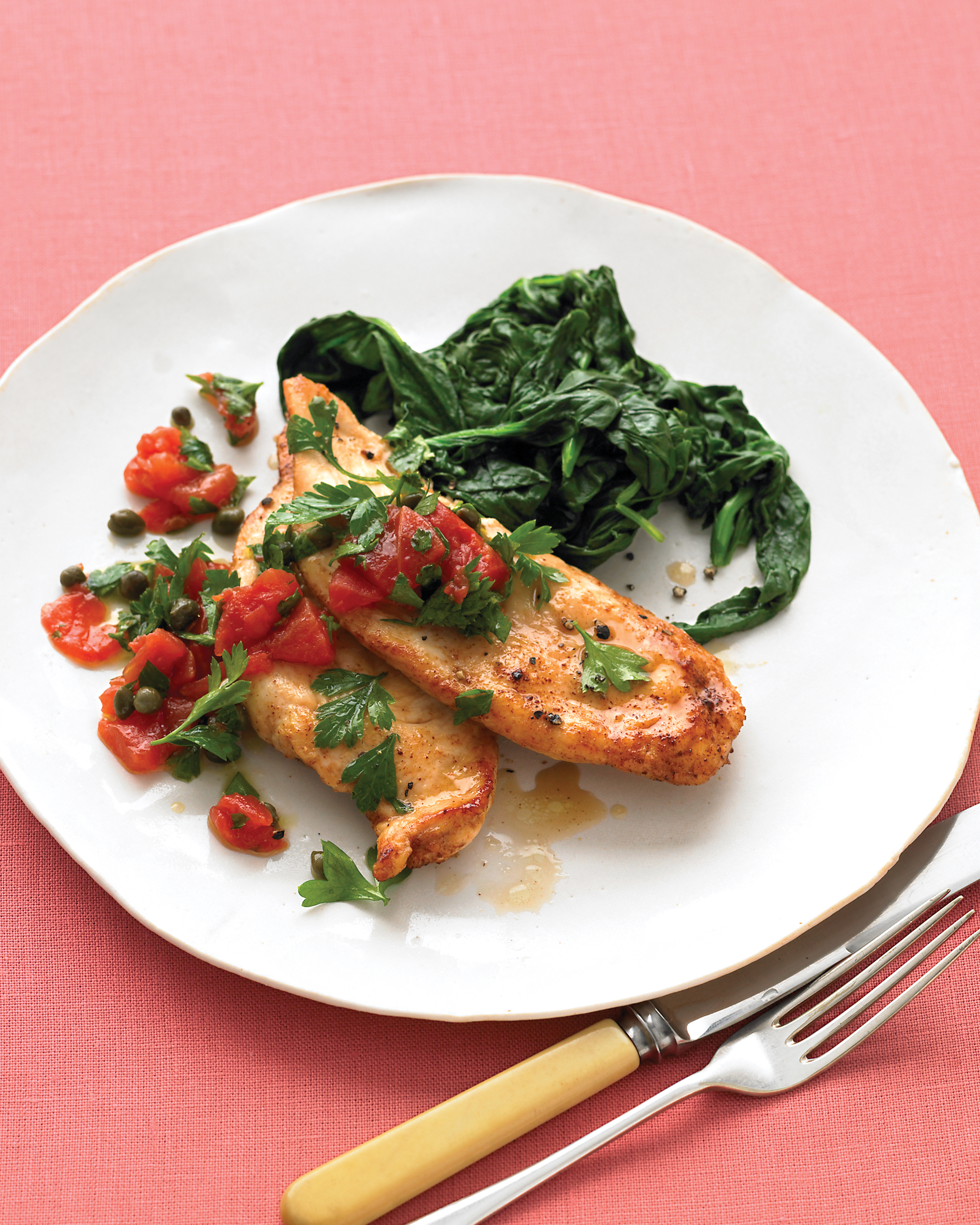 Sautéed Chicken with Tomato Relish and Spinach