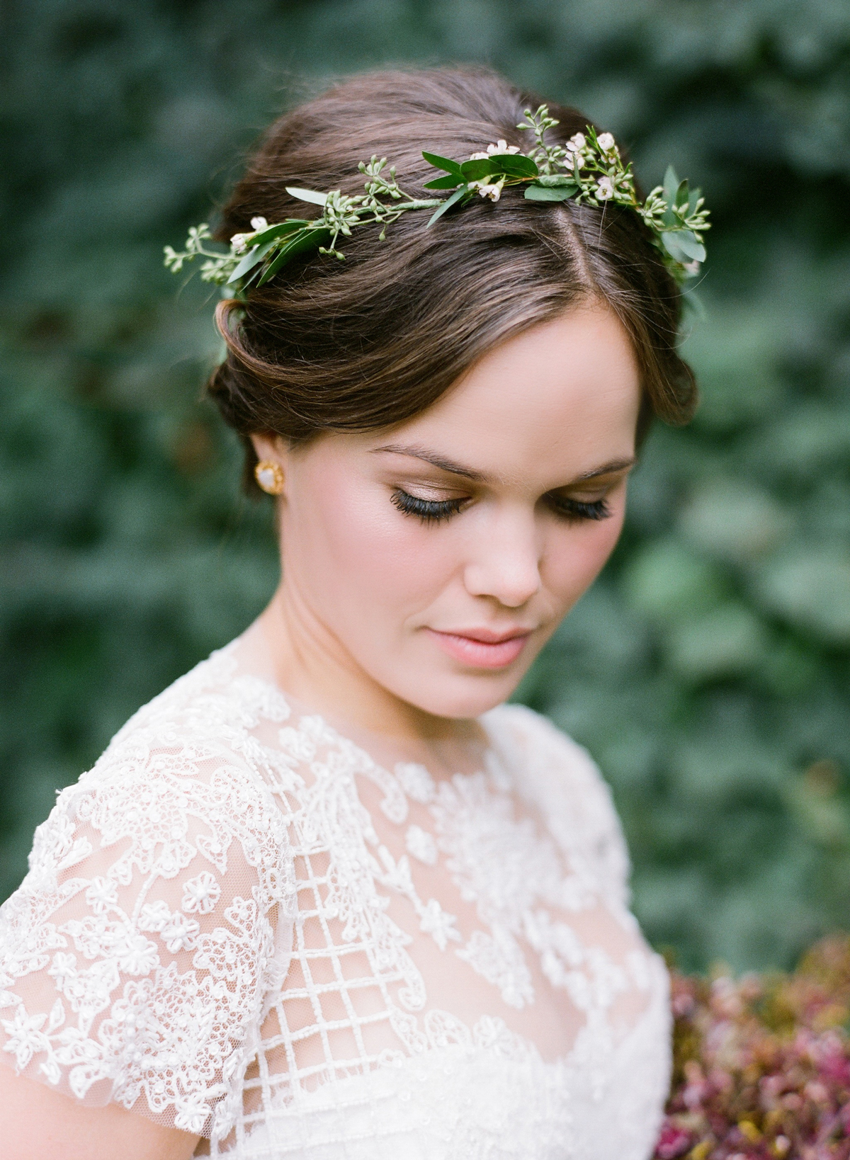 wedding wreath crown worn by bride