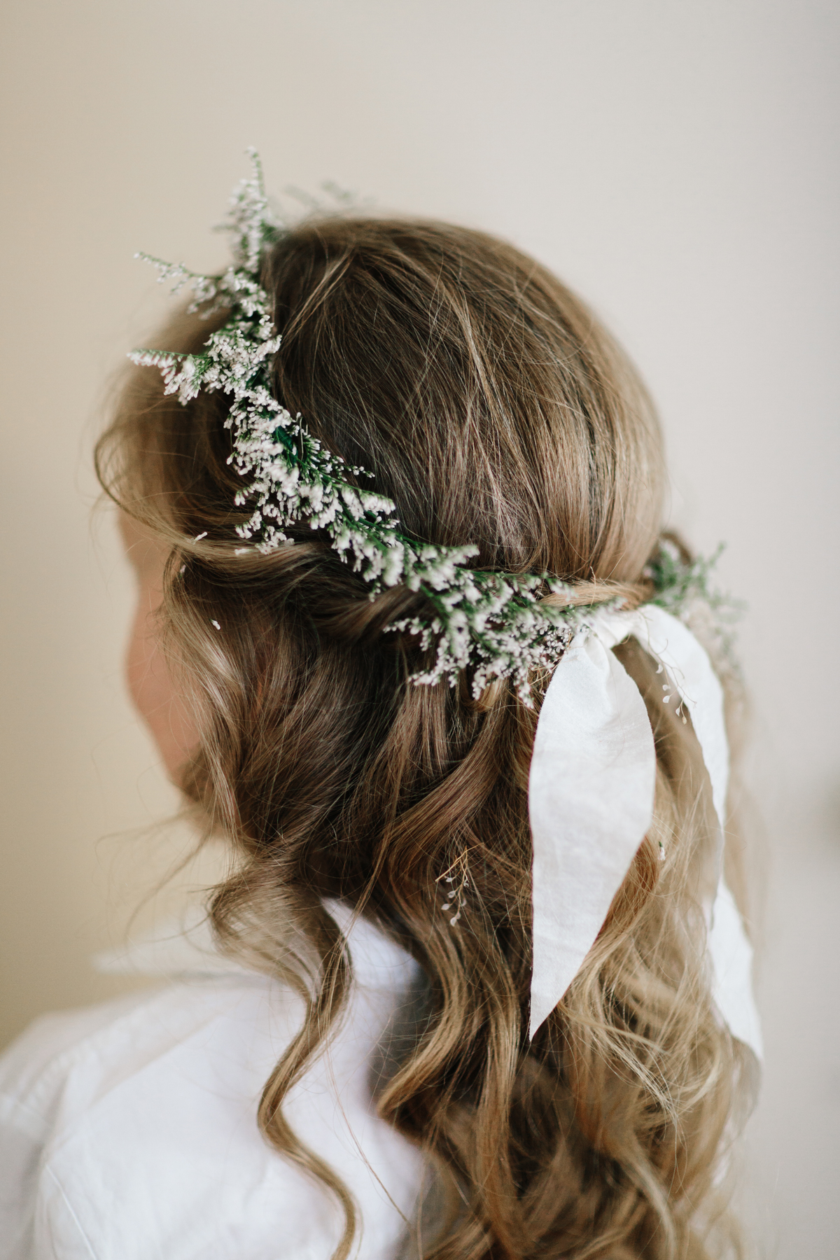 wedding wreath flower crown worn by flower girl