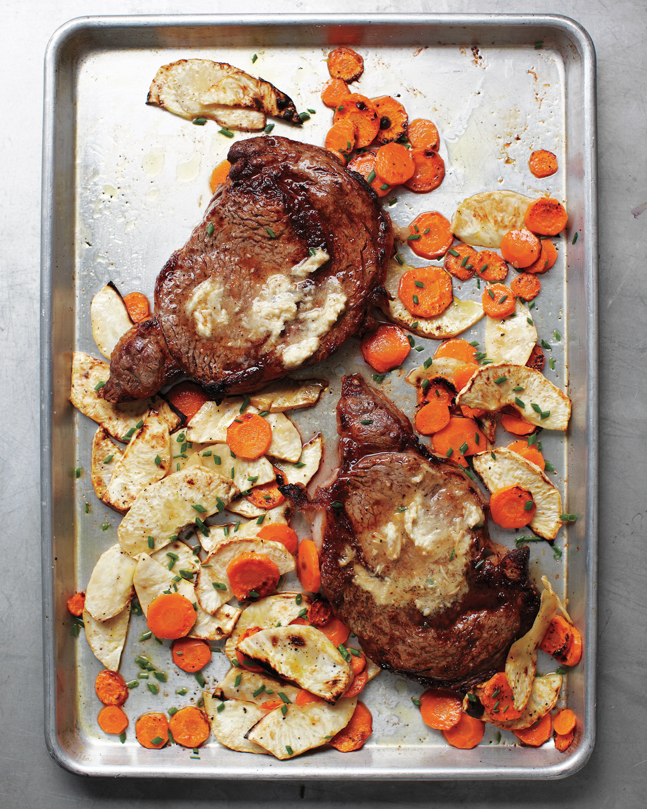 Rib Eye with Horseradish Butter and Root Vegetables