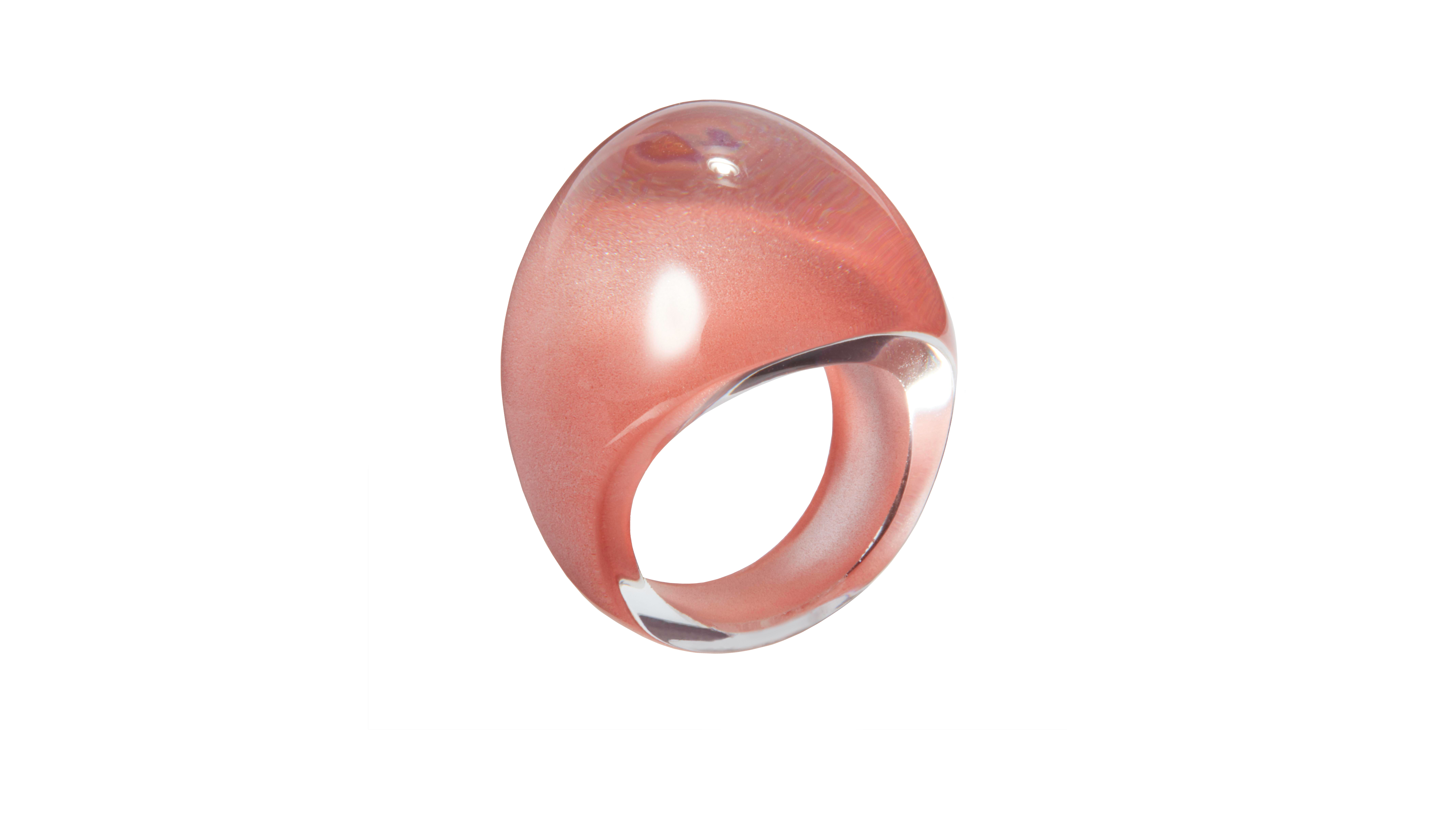 lalique cabochon pink ring gift