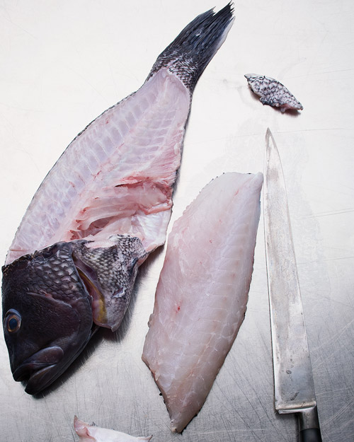 cutting fresh fish