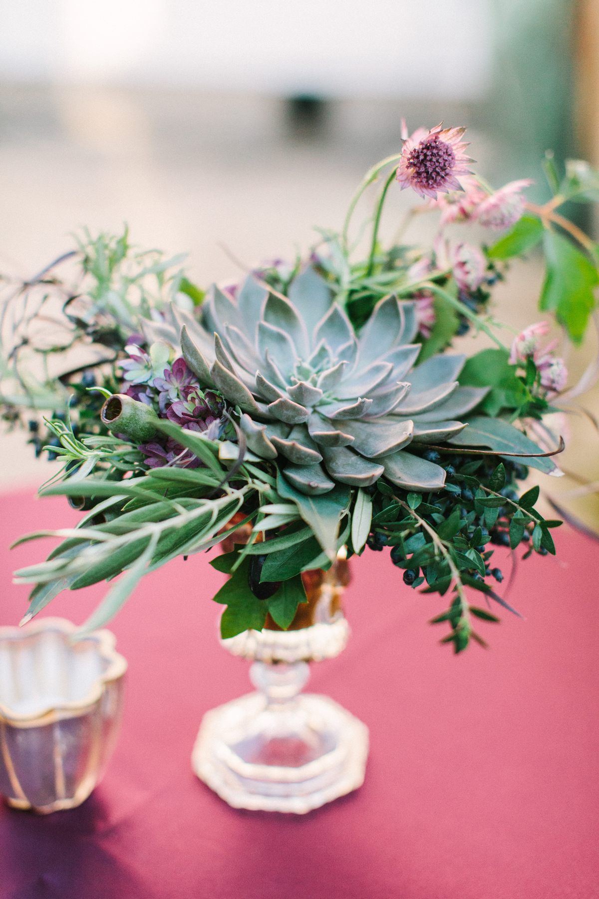 succulent wedding reception table bouquet