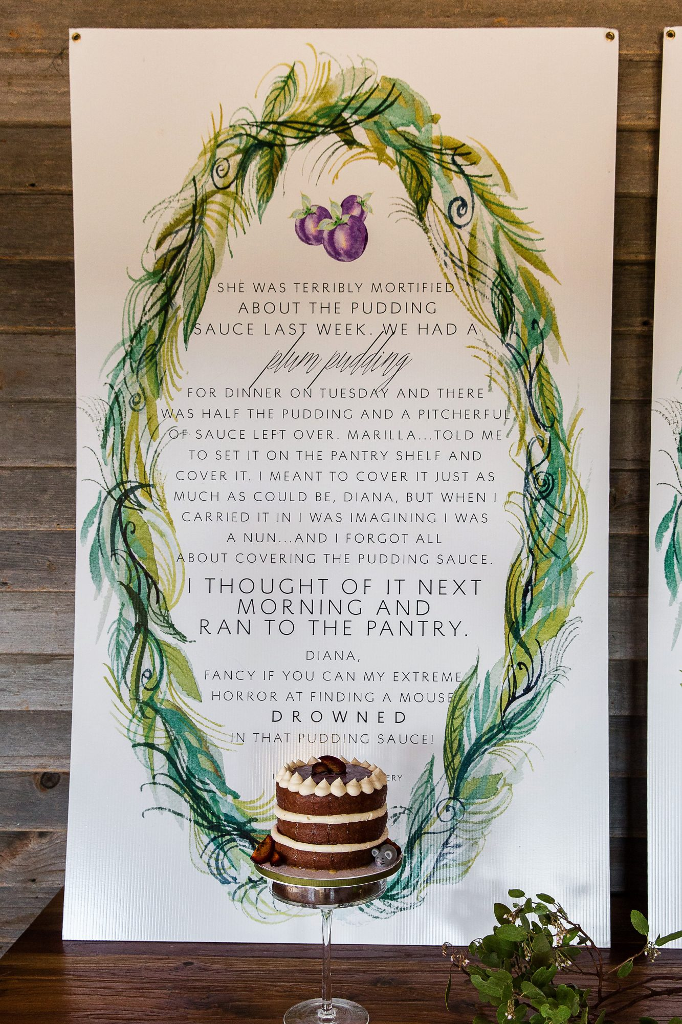 wedding decor quote backdrop cake
