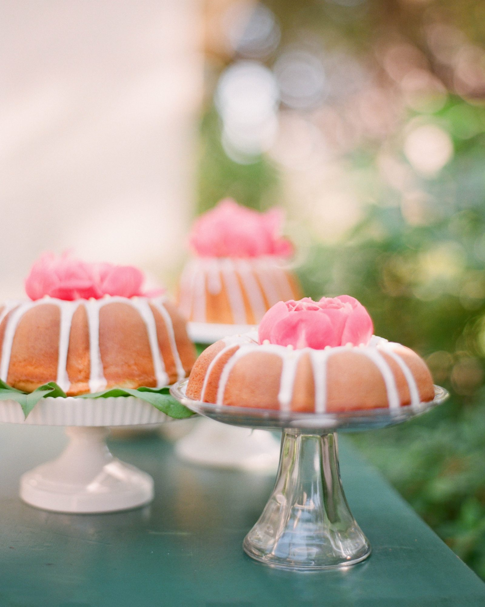 Consider choosing a type of cake that's typically undressed, like these Matchbox Kitchen Bundt cakes.