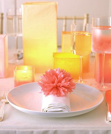 Tissue Paper Pom-Poms and Luminarias