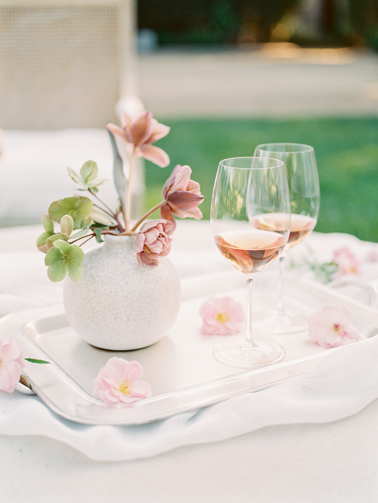 floral tray with rose glasses