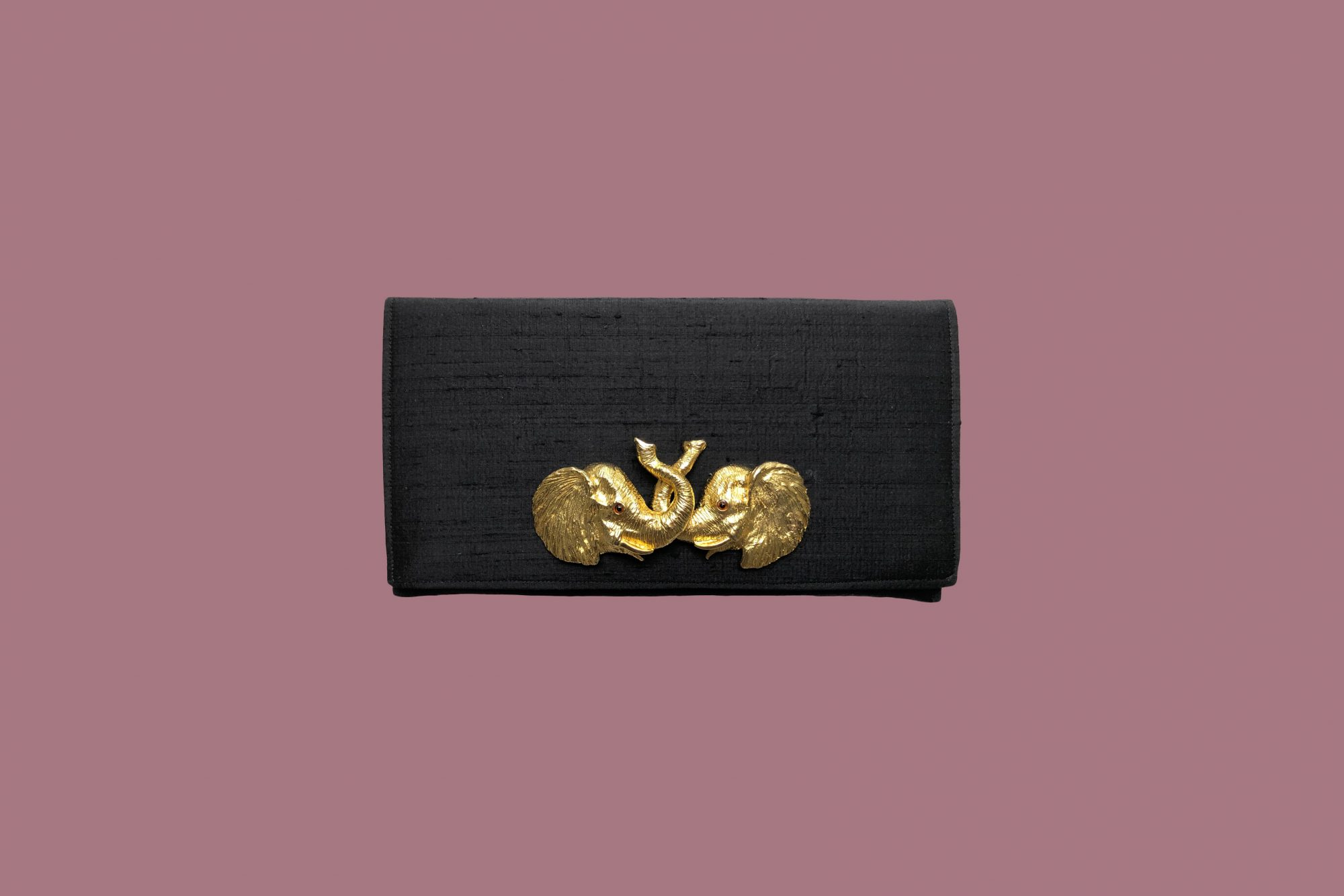 garland bags black clutch with gold elephants