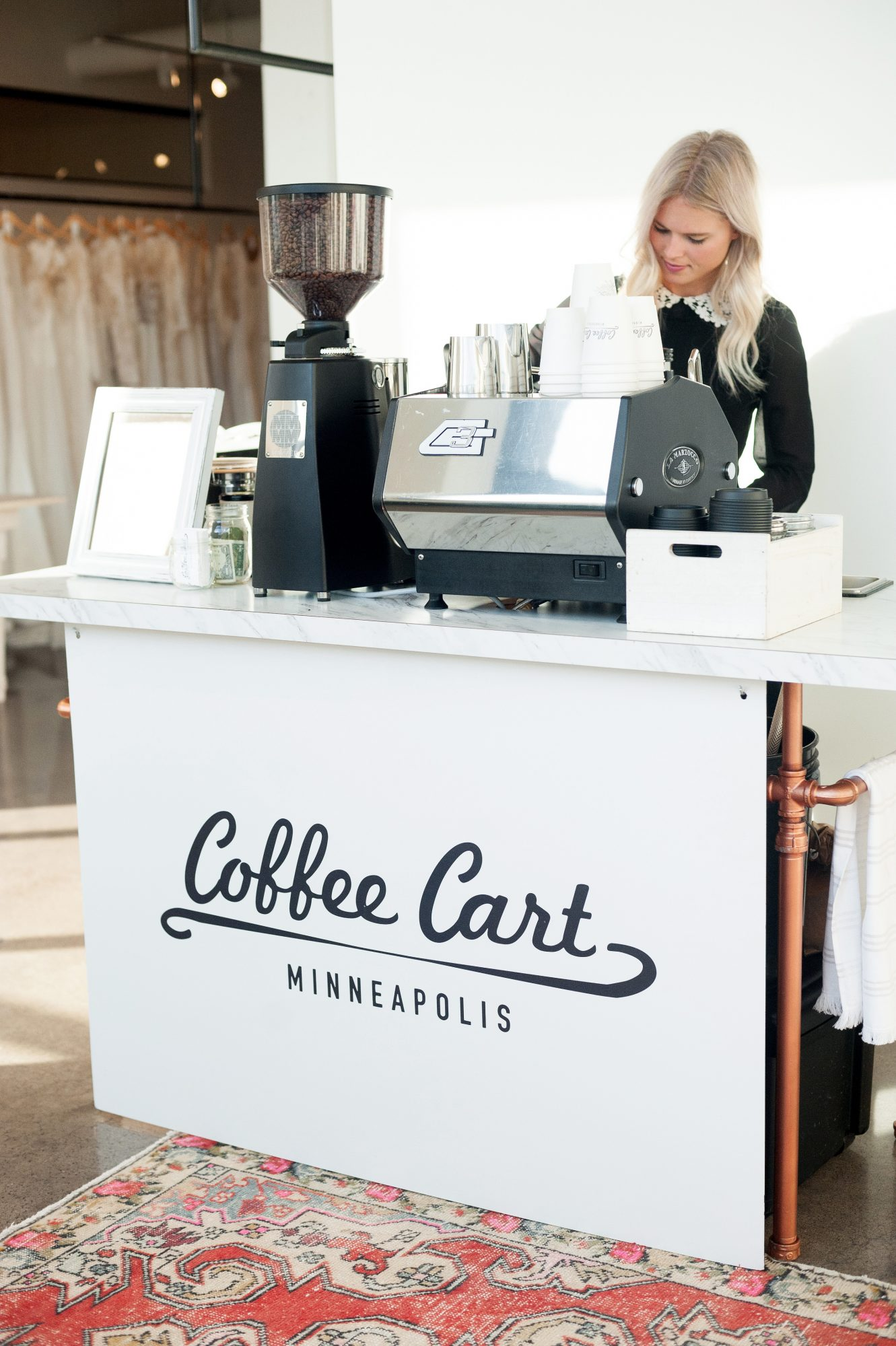 mobile white coffee cart mpls