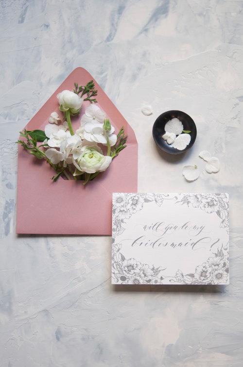be my bridesmaid floral calligraphy card and envelope with flowers