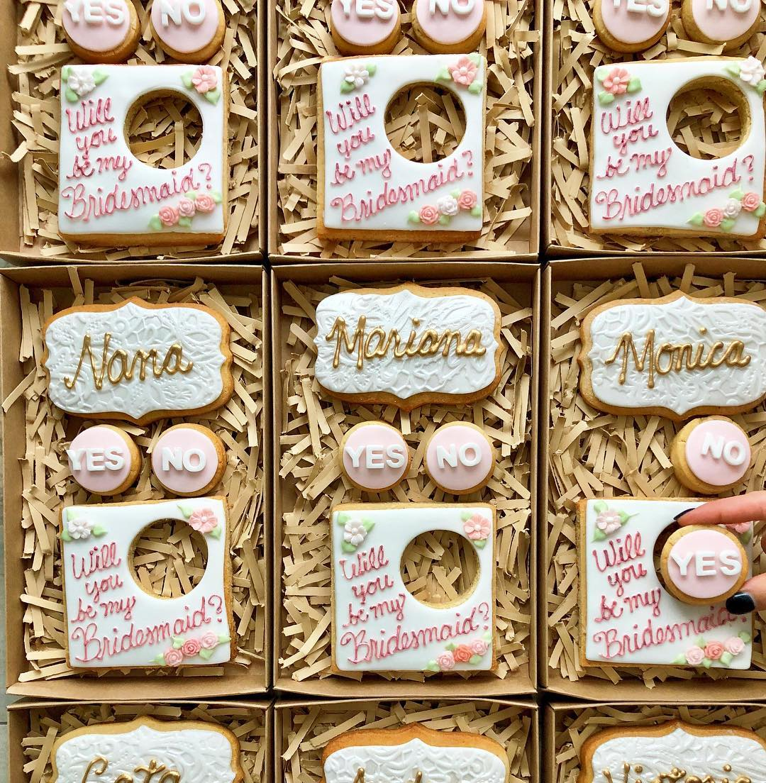 be my bridesmaid customized cookies
