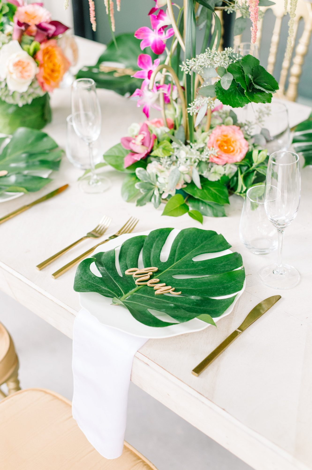 Tropical Place Setting with Palm Leaf on Plate
