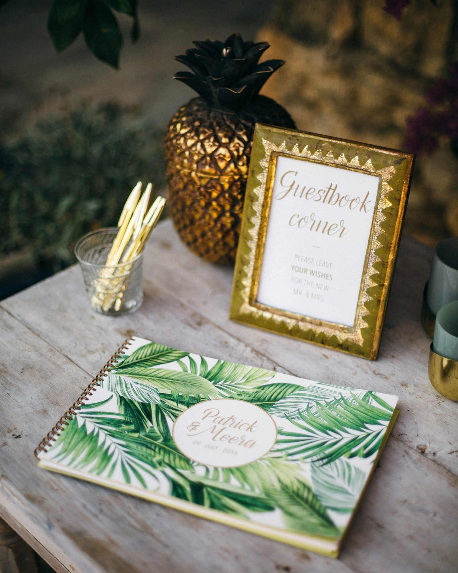tropical wedding leaf-printed notebook guest book