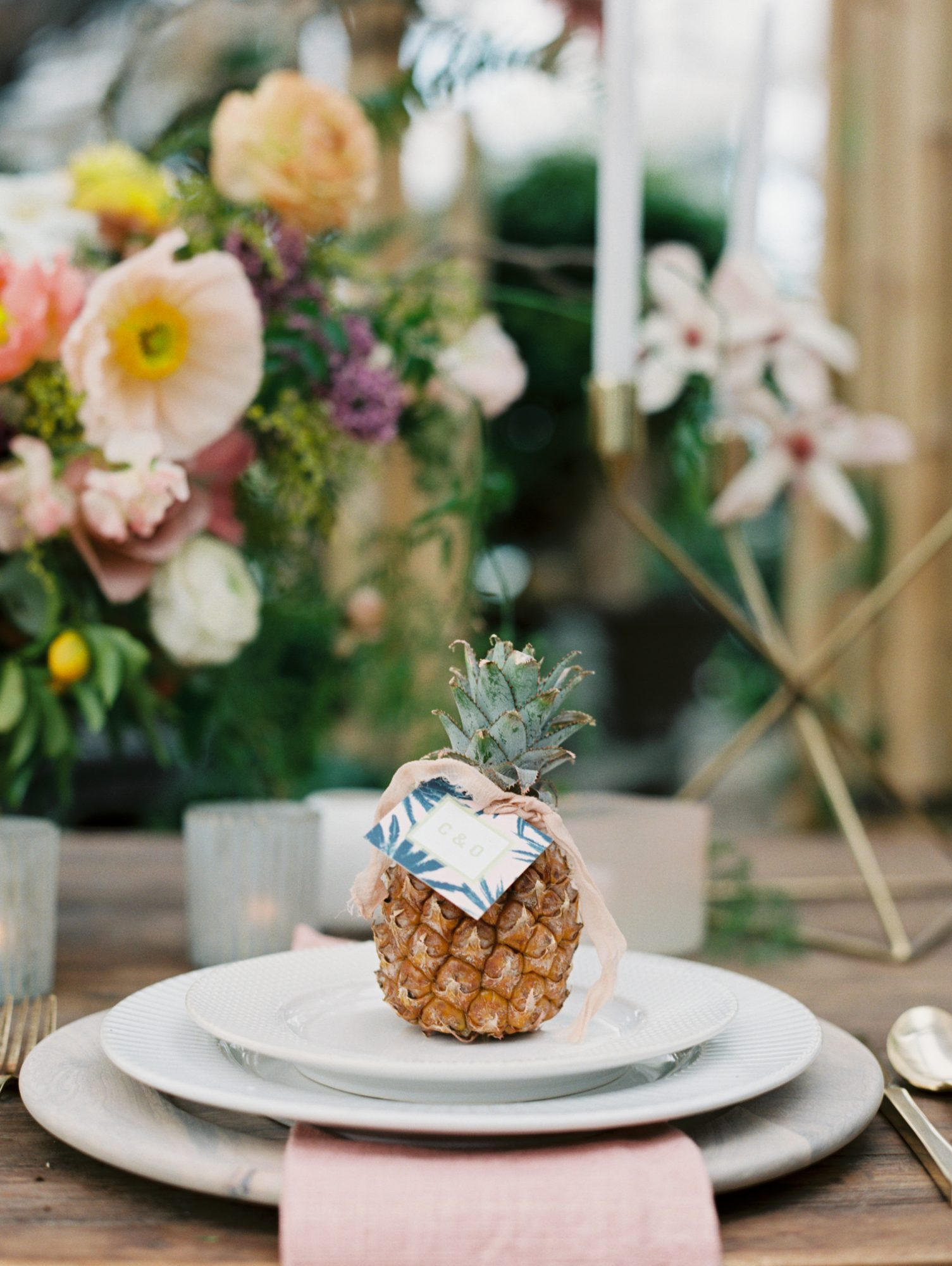 Place Setting with Pineapple Place Card