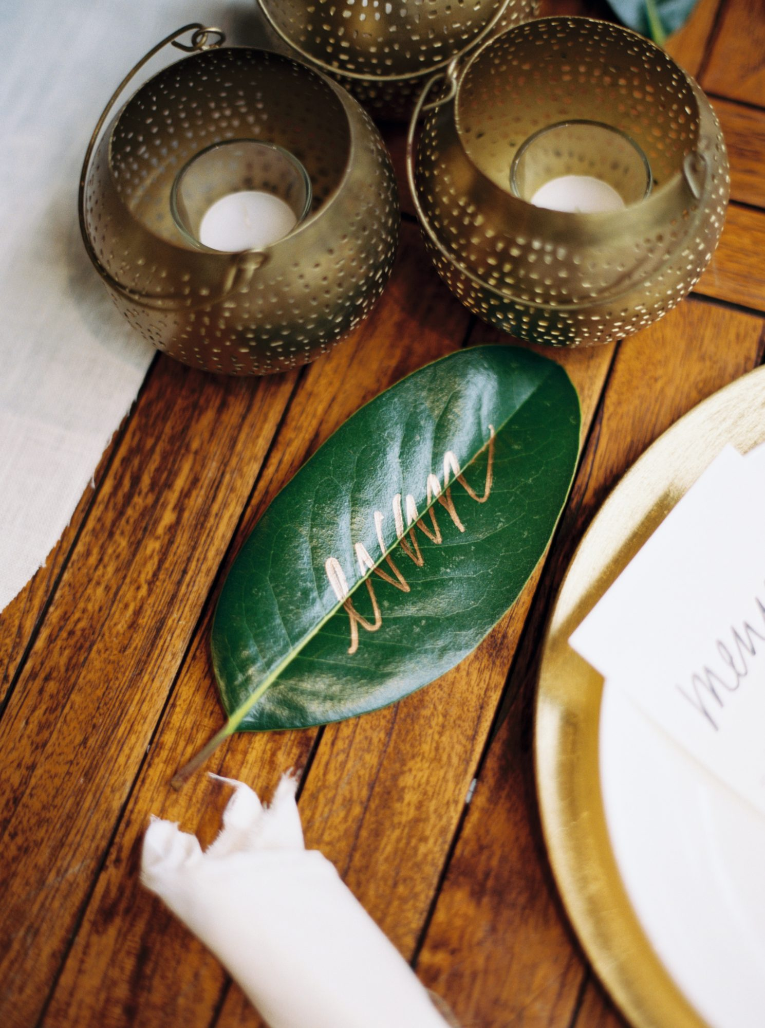 Calligraphed Palm Place Card