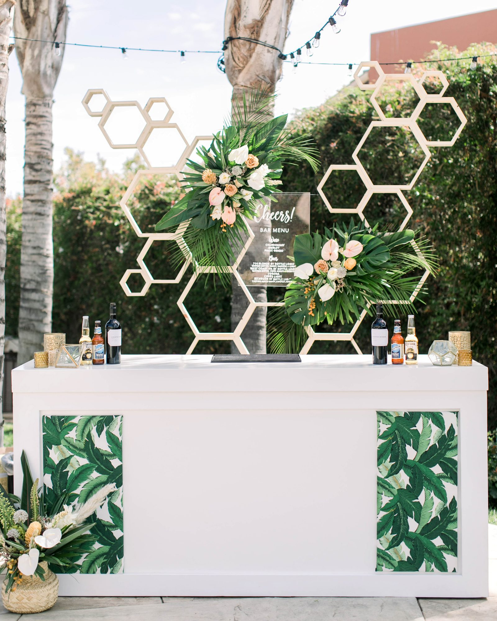 tropical wedding palm leaf tiki bar
