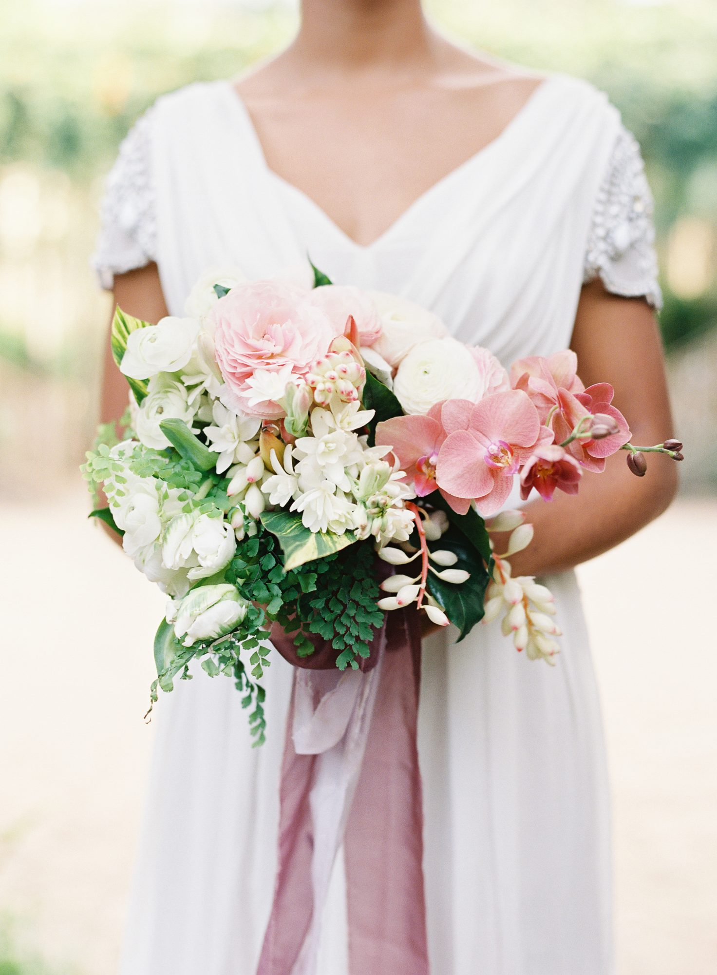 Pink & White Bouquet with Orchids