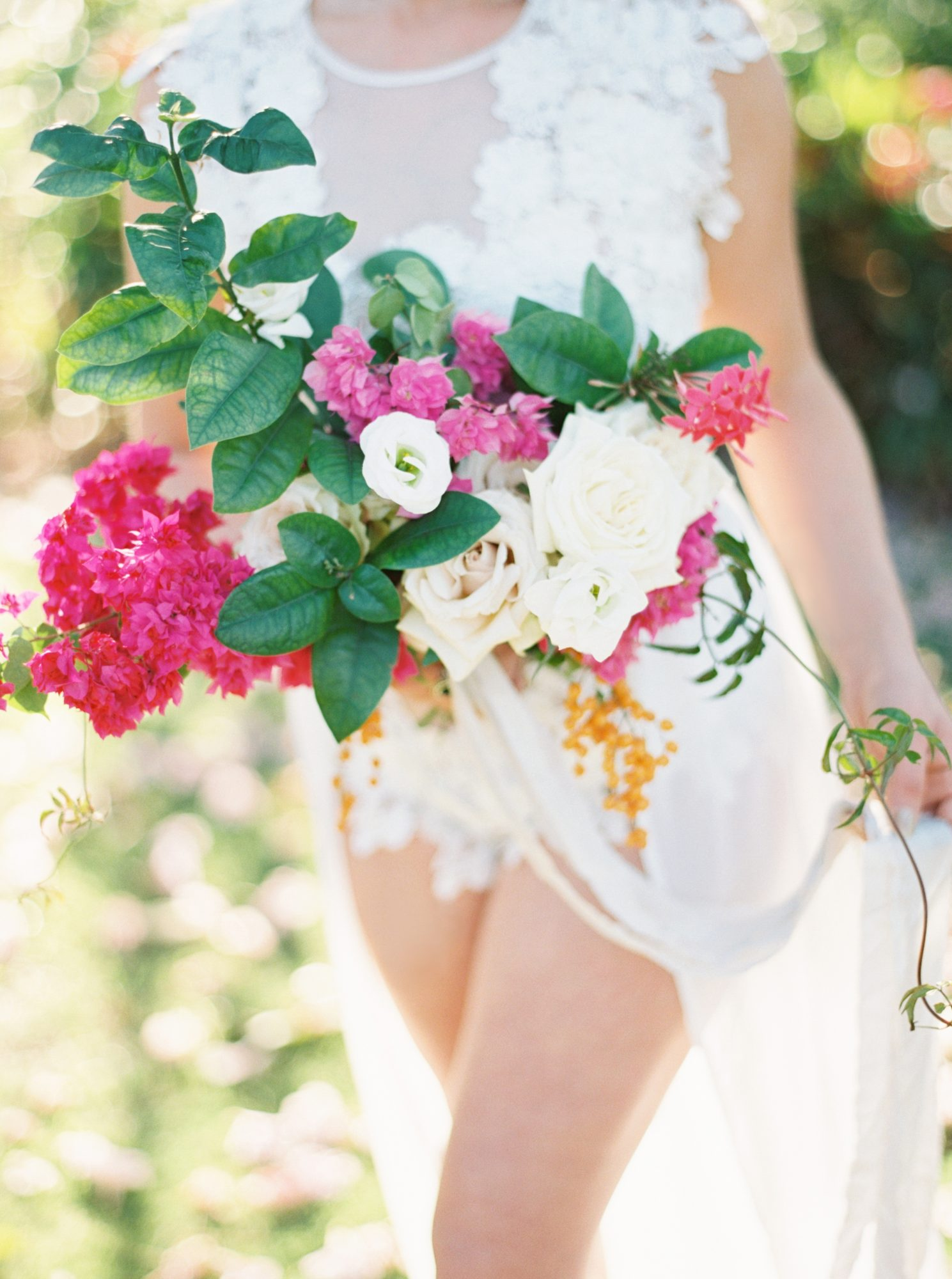 Tropical Wedding Bouquet with Bougainvillea