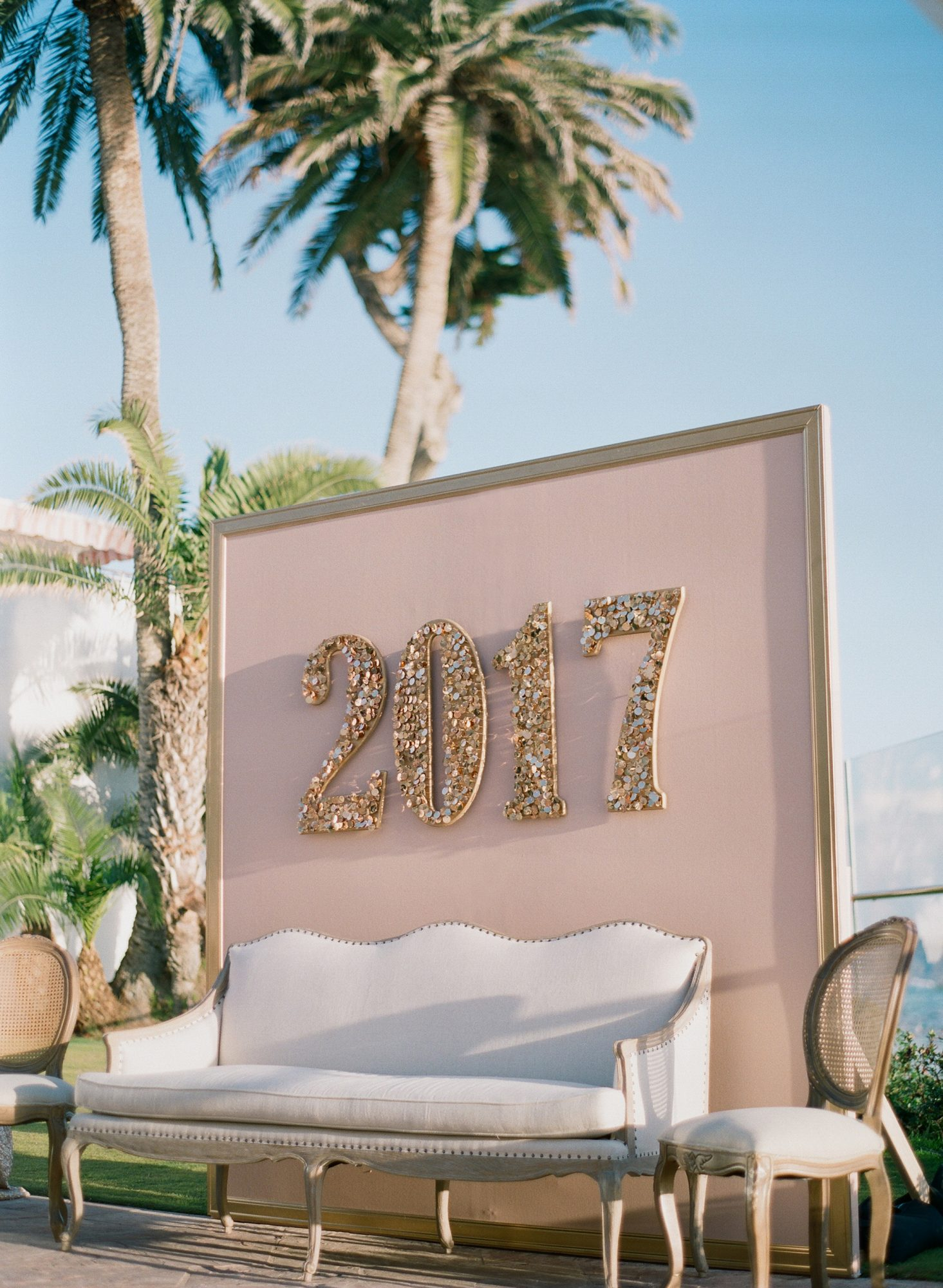 Honor the upcoming year in a big way, like this couple did at their New Year's Eve wedding. Decorate your lounge area, photo booth, or dance floor with oversized digits.