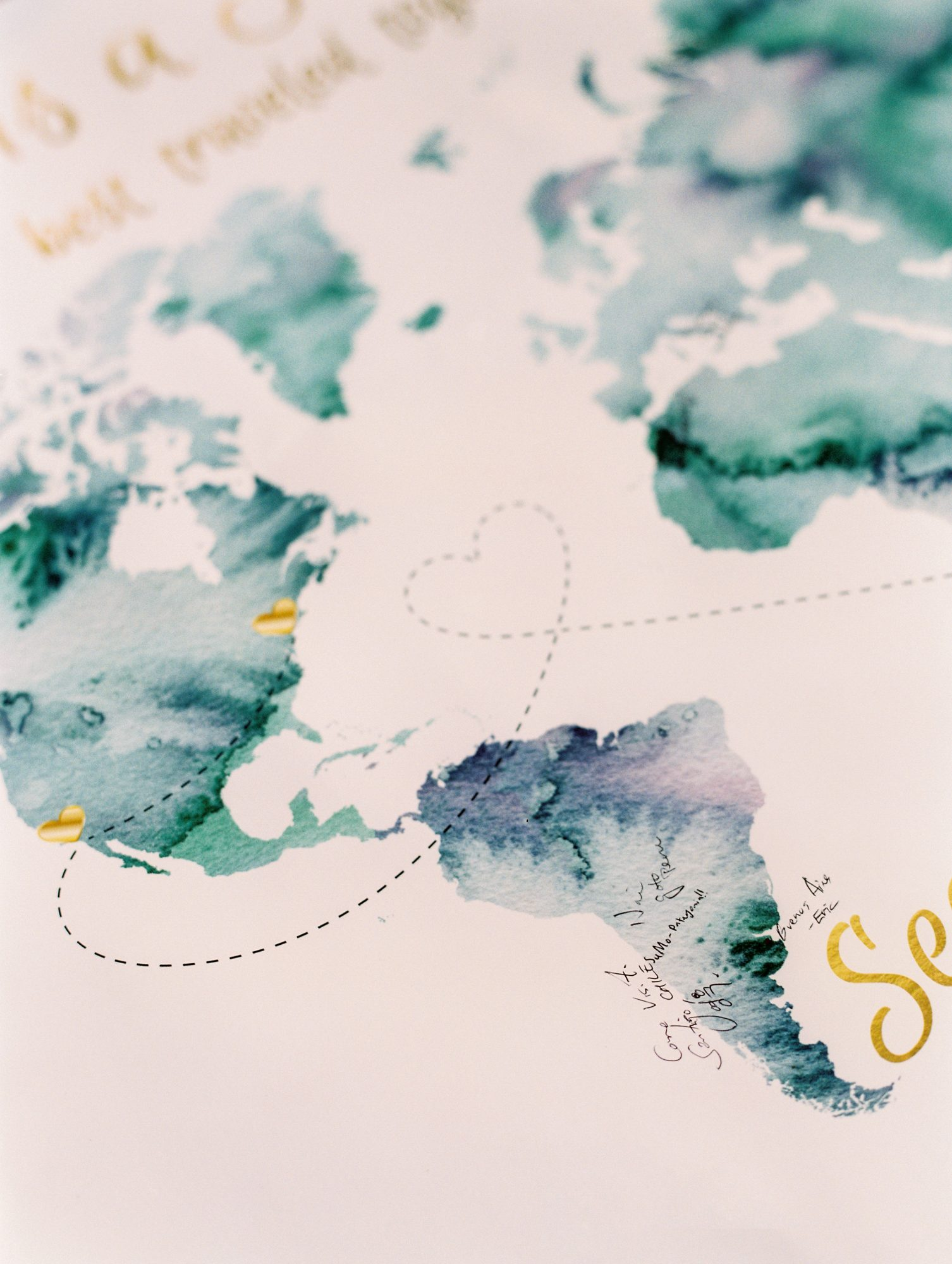 guest book watercolor map