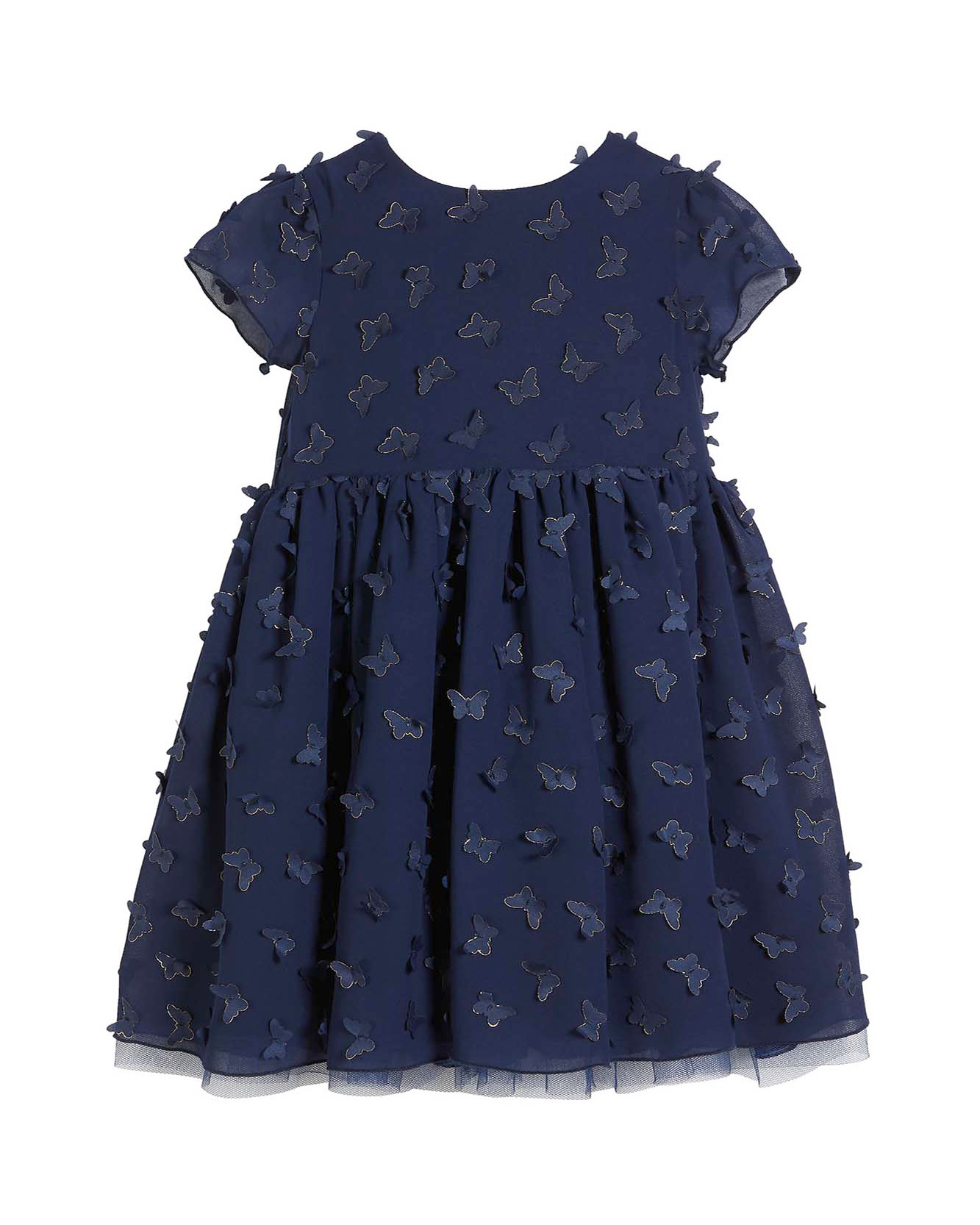 winter flower girl dress short-sleeved navy dress with applique butterflies