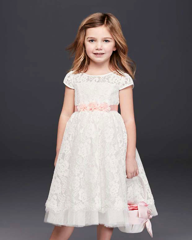 winter flower girl white short-sleeved lace dress with pink ribbon and floral applique