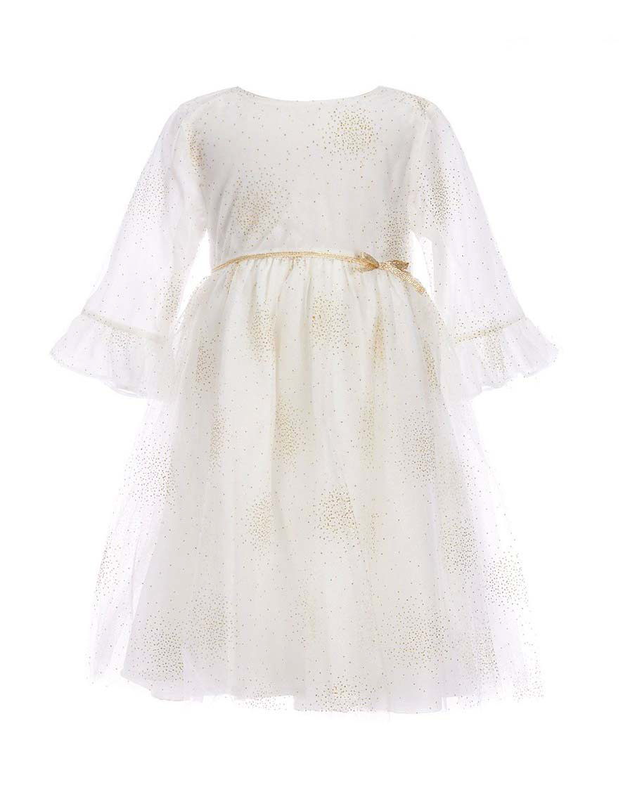 winter flower girl white three-quarter sleeve dress with metallic sparkles