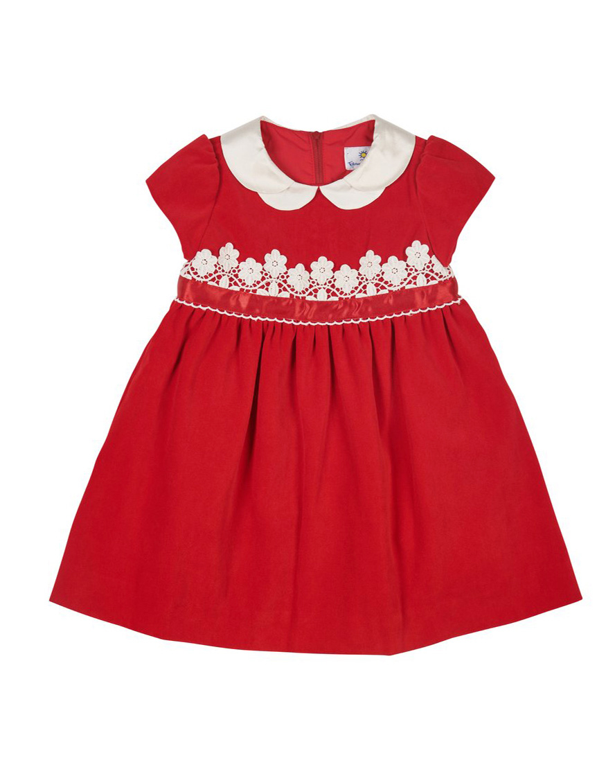 winter flower girl short-sleeved red velvet dress with white lace