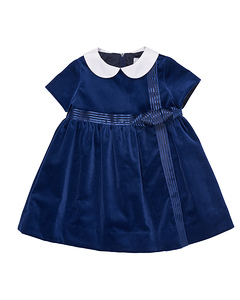 dark blue flower girl dress