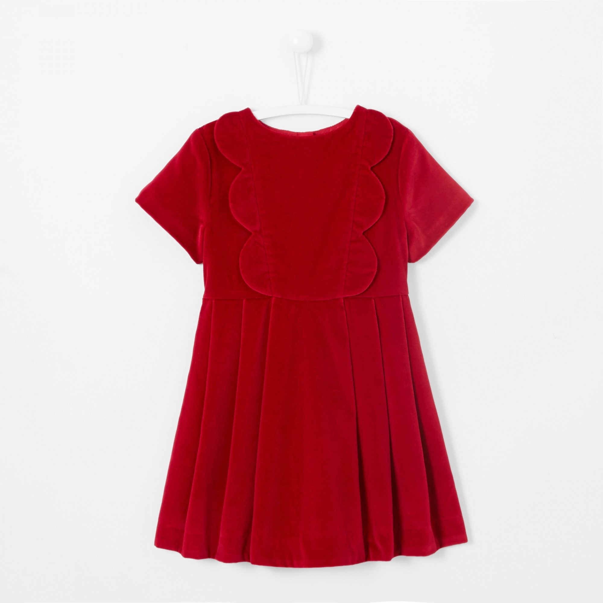 winter flower girl red short-sleeved velvet dress