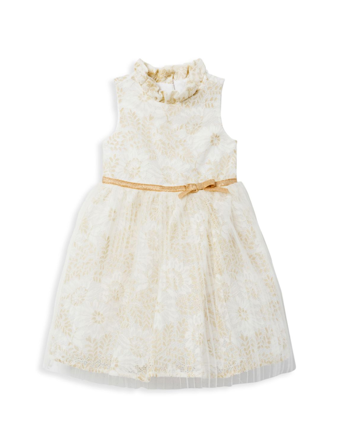 winter flower girl white and gold sleeveless dress with ruffled modneck