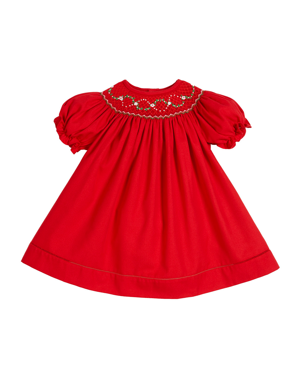 winter flower girl red short puffy sleeved dress