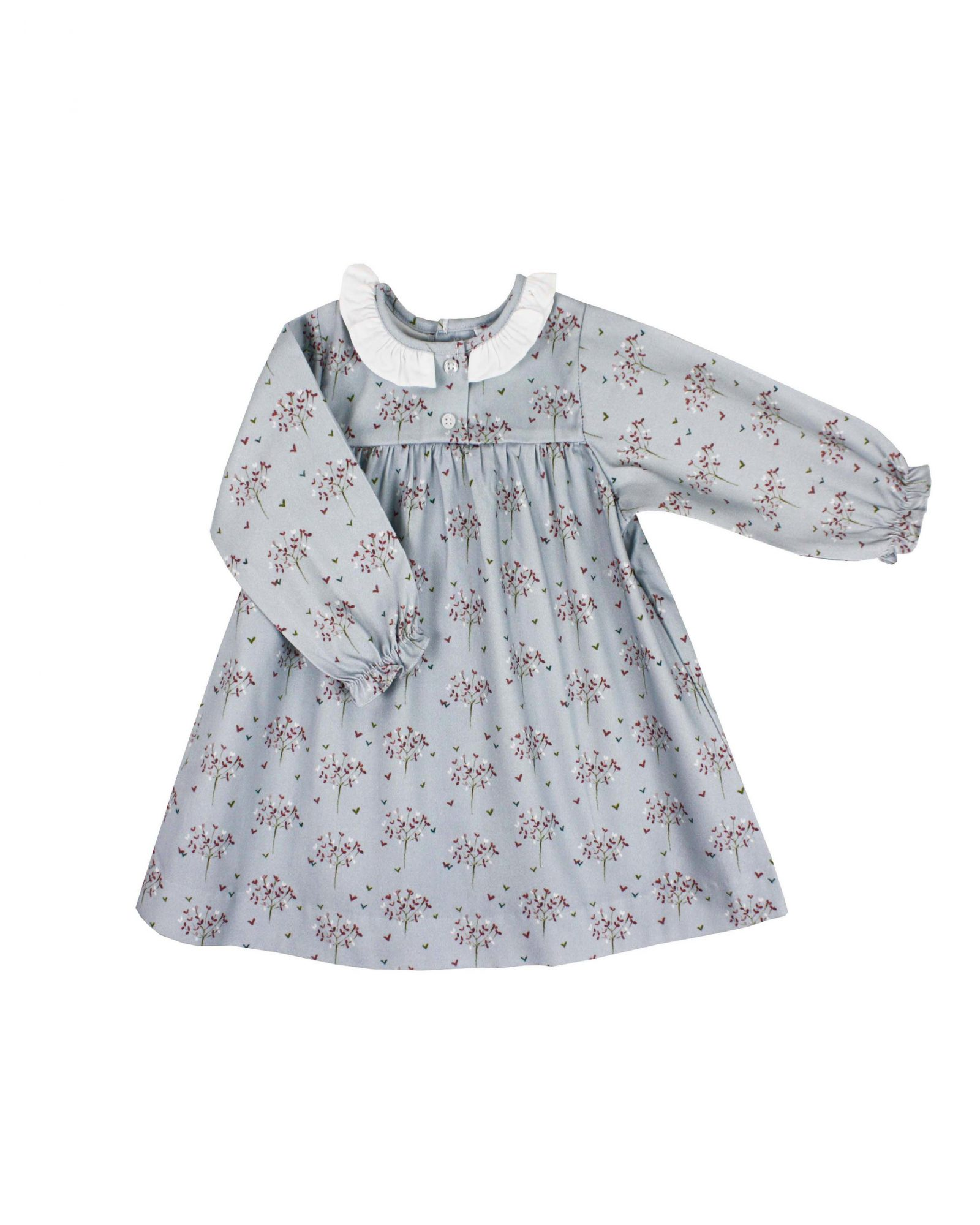 winter flower girl grey long-sleeved dress with floral pattern