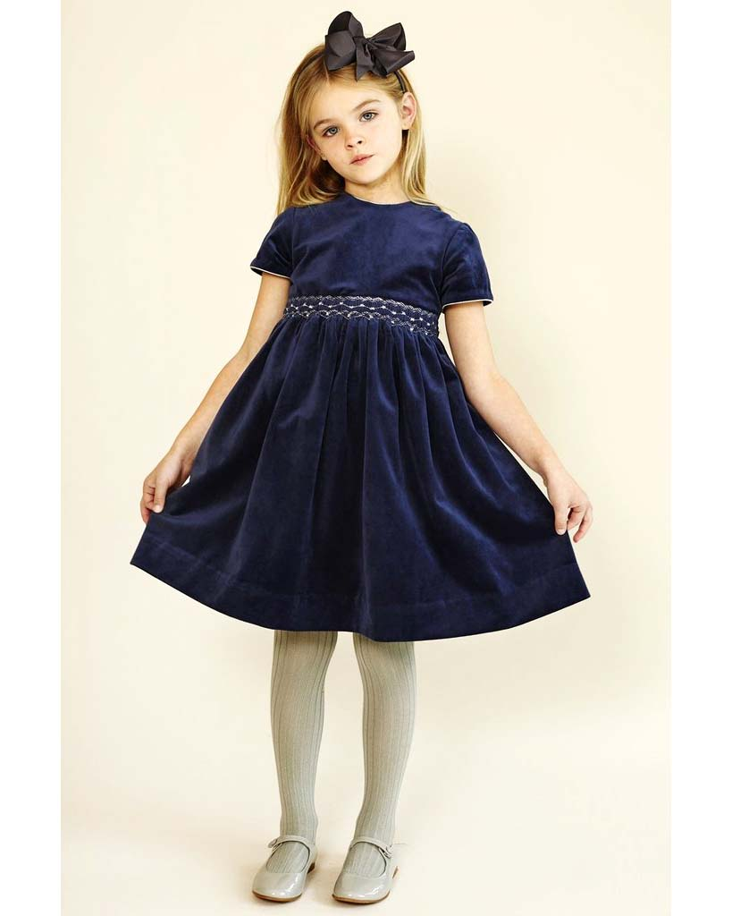 winter flower girl short-sleeved blue velvet dress