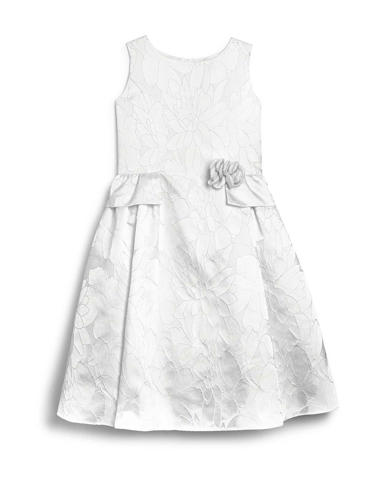 winter flower girl white sleeveless dress with floral patterned embroidery