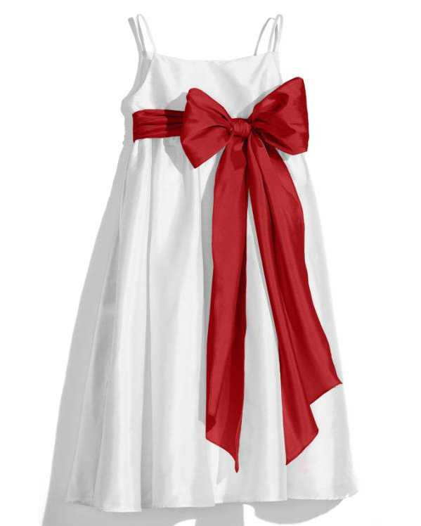 white flower girl dress red bow